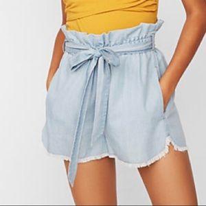 Express • High Waisted Denim Paperbag Shorts